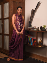 Load image into Gallery viewer, JATRA Tussar Silk Sari -  Tyrian Purple