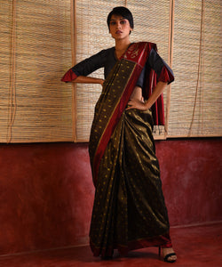 JWALA Silk Sari - Olive Brown
