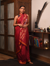 Load image into Gallery viewer, JATRA Tussar Silk Sari -  Red