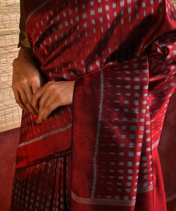 BAARISH Ikat Silk Sari - Deep Red
