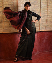 Load image into Gallery viewer, JWALA Silk Sari - Moss Black
