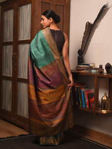 PARVAT  Tussar Silk Sari - Sea Green