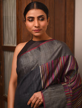 Load image into Gallery viewer, MANJARI Tussar Silk Sari -  Charcoal