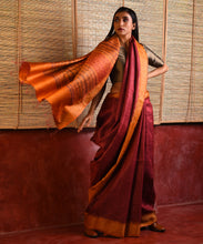 Load image into Gallery viewer, PARVAT Tussar Silk Sari - Raspberry Red