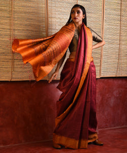 PARVAT Tussar Silk Sari - Raspberry Red