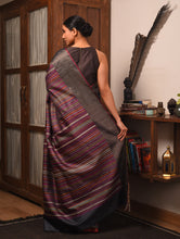 Load image into Gallery viewer, BEEJ Tussar Silk Sari -  Charcoal