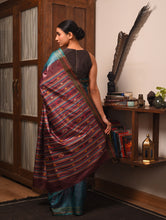 Load image into Gallery viewer, BOMKAI Tussar Silk Sari - Teal Blue