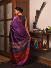 Load image into Gallery viewer, DHAAN Tussar Silk Sari - Plum