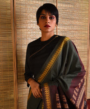 Load image into Gallery viewer, JATRA Tussar Silk Sari -  Olive Brown