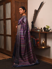Load image into Gallery viewer, BEEJ Long Pallu Tussar Silk Sari -  Indigo Blue