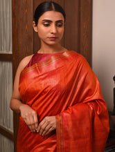 Load image into Gallery viewer, DONGRIA Tussar Silk Sari - Vermillion