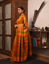 Load image into Gallery viewer, DONGRIA Long PalluTussar Silk Sari - Golden Yellow