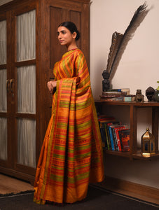 DONGRIA Long PalluTussar Silk Sari - Golden Yellow