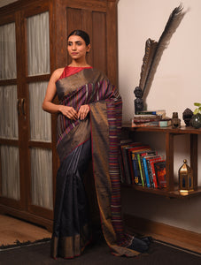 BEEJ Long Pallu Tussar Silk Sari - Black