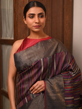 Load image into Gallery viewer, BEEJ Long Pallu Tussar Silk Sari - Black