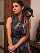 Load image into Gallery viewer, BHOR Tussar Silk Sari - Charcoal Black