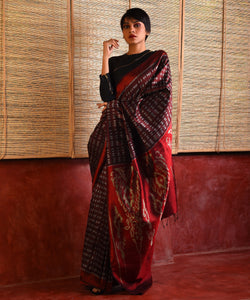 JWALA Silk Sari - Barn Red