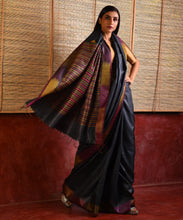 Load image into Gallery viewer, IKAT Tussar Satrang Silk Sari - Charcoal