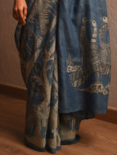 Load image into Gallery viewer, DABU TREE OF LIFE Peacock motif Tussar Silk Sari - Indigo Blue