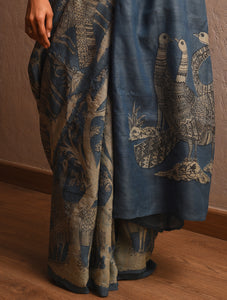 DABU TREE OF LIFE Peacock motif Tussar Silk Sari - Indigo Blue