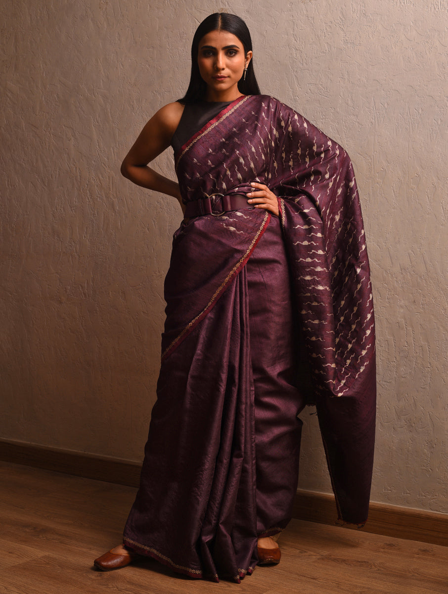 IKAT Tussar Badal Silk Sari - Wine Purple