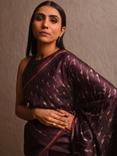 Load image into Gallery viewer, IKAT Tussar Badal Silk Sari - Wine Purple