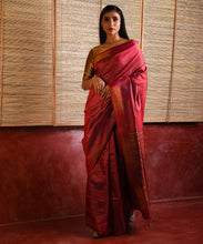Load image into Gallery viewer, IKAT Tussar Satrang Silk Sari - Wine Maroon