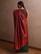 Load image into Gallery viewer, IKAT Tussar Trikon Silk Sari - Teal Red