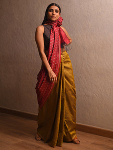 IKAT Tussar Trikon Silk Sari - Mustard Yellow Red