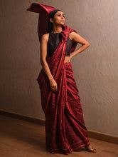 Load image into Gallery viewer, IKAT Tussar Nakshatra Silk Sari - Deep Red