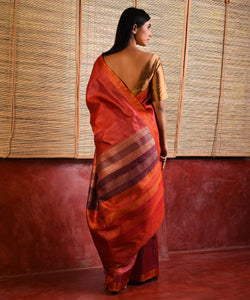 DHAAN Tussar Silk Sari - Orange