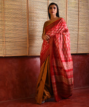 Load image into Gallery viewer, WOVEN SHIBORI Long Pallu Tussar Silk Sari -  Ochre Red