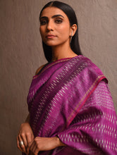 Load image into Gallery viewer, IKAT Tussar Sitara Silk Sari -  Fuchsia