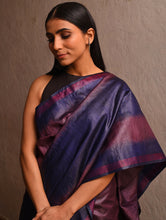 Load image into Gallery viewer, IKAT Tussar Lakir Silk Sari - Purple Mauve