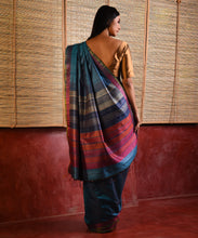 Load image into Gallery viewer, DHAAN Tussar Silk Sari - Azure Blue
