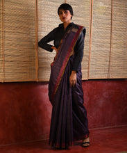 Load image into Gallery viewer, DHAAN Tussar Silk Sari - Mulberry