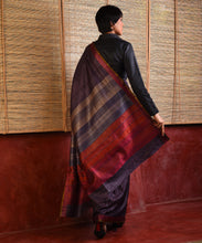 Load image into Gallery viewer, IKAT Tussar Satrang Silk Sari - Slate Grey
