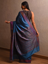 Load image into Gallery viewer, MEGHADHANUSH  IKAT Tussar Silk Sari - Sapphire  Blue