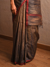 Load image into Gallery viewer, IKAT Tussar Jharna Silk Sari - Taupe Grey