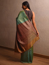 Load image into Gallery viewer, IKAT Tussar Lata Silk Sari - Jade Green
