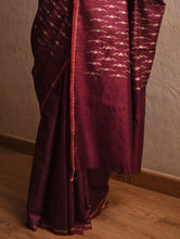 Load image into Gallery viewer, IKAT Tussar Badal Silk Sari - Wine