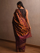 Load image into Gallery viewer, IKAT Tussar Pasa Silk Sari -  Umber Brown