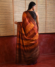 Load image into Gallery viewer, WOVEN SHIBORI Long Pallu Tussar Silk Sari - Aubergine