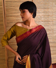 Load image into Gallery viewer, LEHER Tussar Silk Sari - Coffee Brown