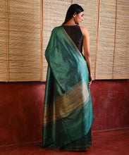 Load image into Gallery viewer, MACHLI (FISH) Tussar Silk Sari - Jade Green
