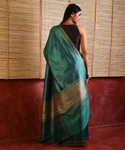 MACHLI (FISH) Tussar Silk Sari - Jade Green
