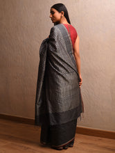 Load image into Gallery viewer, IKAT Tussar Thippa Silk Sari - Charcoal Black