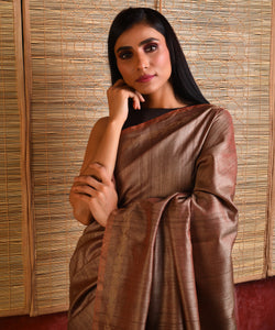 MACHLI (FISH) Tussar Silk Sari - Rosy Brown