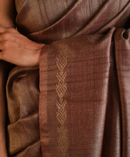 Load image into Gallery viewer, MACHLI (FISH) Tussar Silk Sari - Rosy Brown