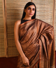 Load image into Gallery viewer, MACHLI (FISH) Tussar Silk Sari - Russet Brown